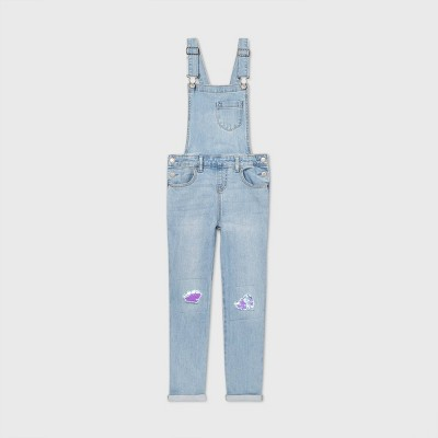 Girls' Flip Sequin Overalls - Cat & Jack™ Light Wash