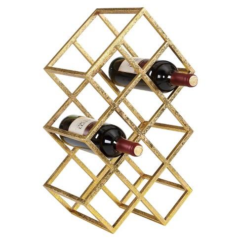 Danya B Sparkling 9 Wine Bottle Rack Gold - image 1 of 3