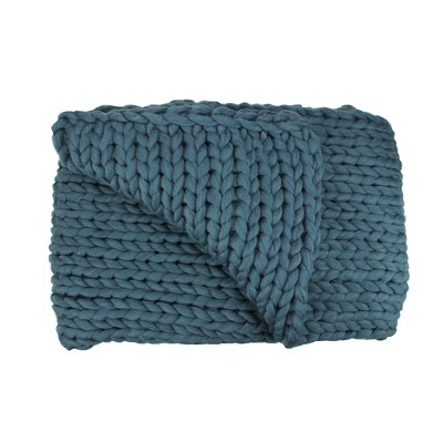 "Northlight 50"" x 60"" Cable Knit Plush Throw Blanket - Teal Blue"