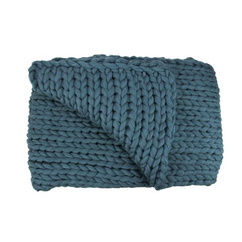 """Northlight 50"""" x 60"""" Cable Knit Plush Throw Blanket - Teal Blue - image 1 of 2"""