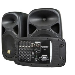 Monoprice PA System | With Two 10-Inch Speakers, 8-channel, 130 Watt, 20 Hz - 20 kHz frequency response - Stage Right Series
