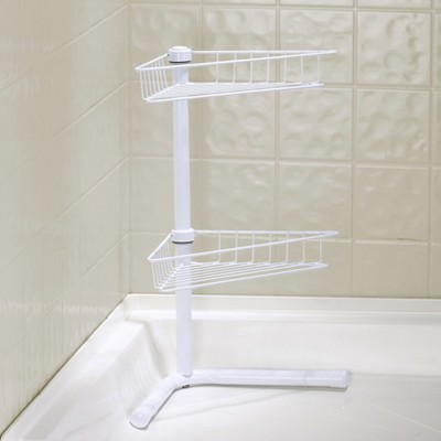 Lakeside Free-Standing Corner Bathroom Shelf - 2-Tier Shower Organizer Caddy