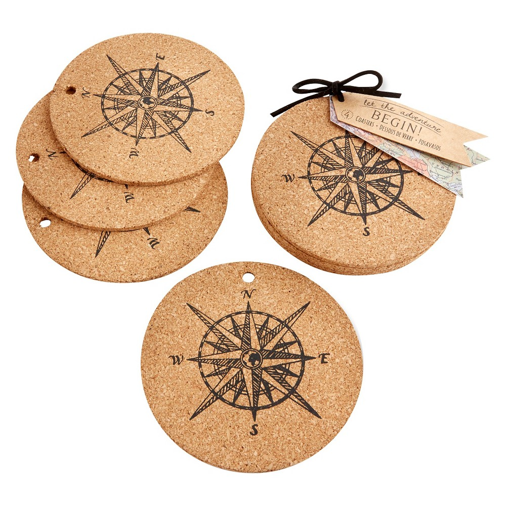 "Image of ""12ct """"Let the Journey Begins"""" Cork Coasters"""