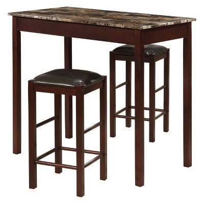 Tavern 42  Wood Table & 2 Upholstered Backless Stools - Espresso Wood - Linon