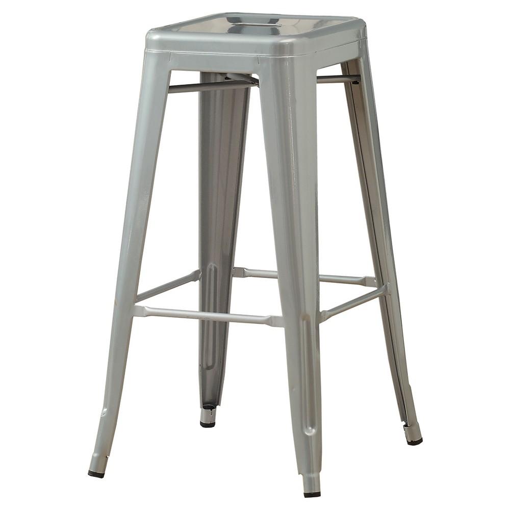 Barstool 30 H - 2 Piece - Galvanized Metal - EveryRoom, Silver