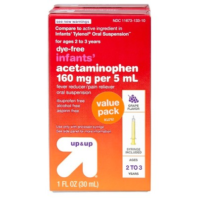 Infants' Acetaminophen Pain Reliever & Fever Reducer Liquid - (Compare to Infant Tylenol Oral Suspension)- Grape - 1 fl oz - Up&Up™