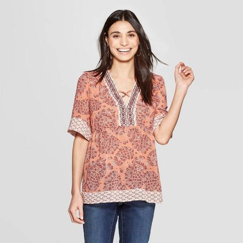 84ab062df31cda Women's Short Sleeve V-Neck Border Print Peasant Top - Knox Rose™ Orange
