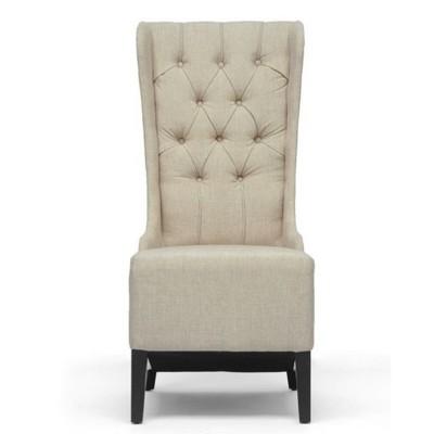 Vincent Linen Modern Accent Chair Beige - Baxton Studio
