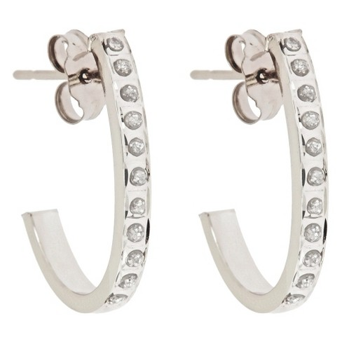 J Post Hoop Sterling Silver Earrings with Diamond Accents - White - image 1 of 1