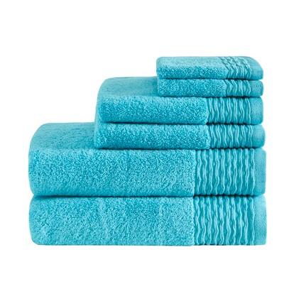 6pc Curv Jacquard Wavy Cotton Bath Towels Set Blue