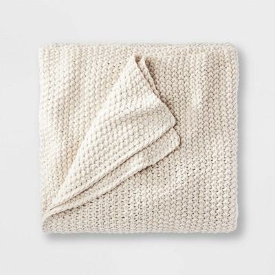 King Chunky Knit Bed Blanket Natural - Casaluna™