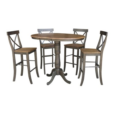 """36"""" James Round Extendable Dining Table with 4 Barstools Tan/Washed Coal - International Concepts"""