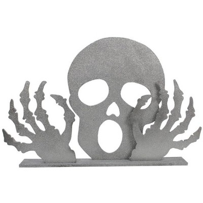 """Gallerie II 38.5"""" Glittered Skull and Skeleton Hands Halloween Display Decoration - Silver"""