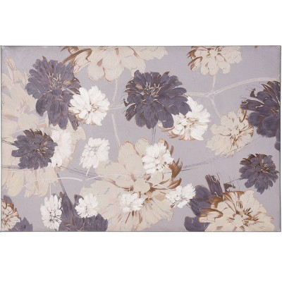 Dancing Floral Hand Embellished Dancing Floral on Stretched Unframed Wall Canvas Purple/Gray - StyleCraft
