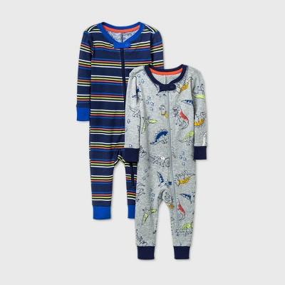 Baby Boys' 2pk Dino Pajama Jumpsuit - Cat & Jack™ Blue 18M
