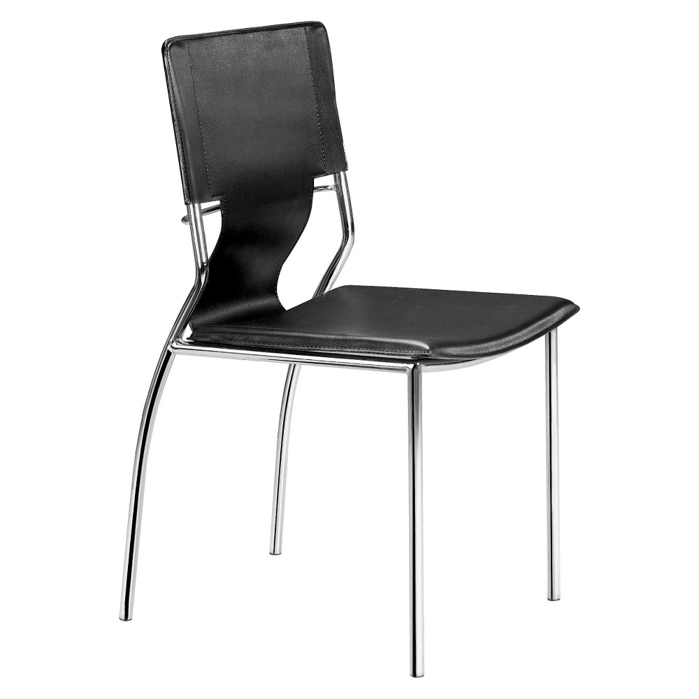 Contemporary Chromed Steel Dining Chair (Set of 4) - Black - ZM Home