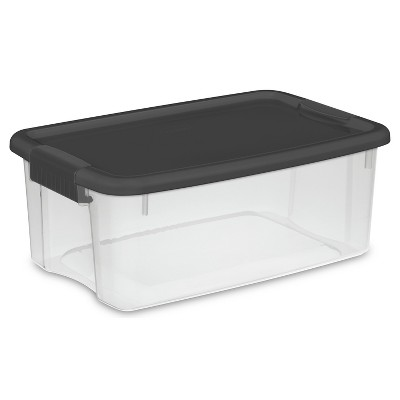 Sterilite 18 Qt Ultra Clear Storage Box with Gray Lid & Latches