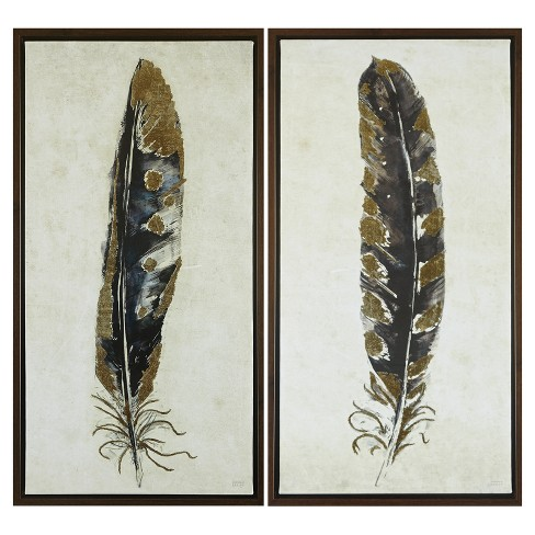 "Framed Feather Canvas Wall Art Yellow/Blue 34.76""x5.12""x19.3"" 2pk - image 1 of 6"