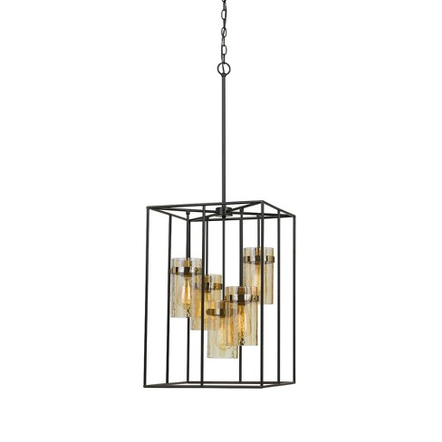 "Cremona Glass Pendant Fixture Antique Brass 11"" - Cal Lighting - image 1 of 2"