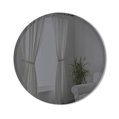 "24"" Hub Bevy Beveled Round Wall Mirror Smoke - Umbra"