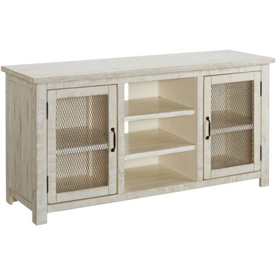 """Trent 60"""" Wide Antique White 2-Door Wood TV Stand Console"""