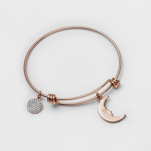 "Stainless Steel I love you to the moon and back Bangle Bracelet (8"") - Rose Gold - image 1 of 1"