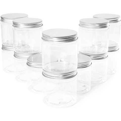 Juvale 12 Pack Round Plastic Glass Jars with Metal Lids, 6oz Clear Food Storage Containers with Label Stickers for Spice, Powder and Cooking Oil - image 1 of 1