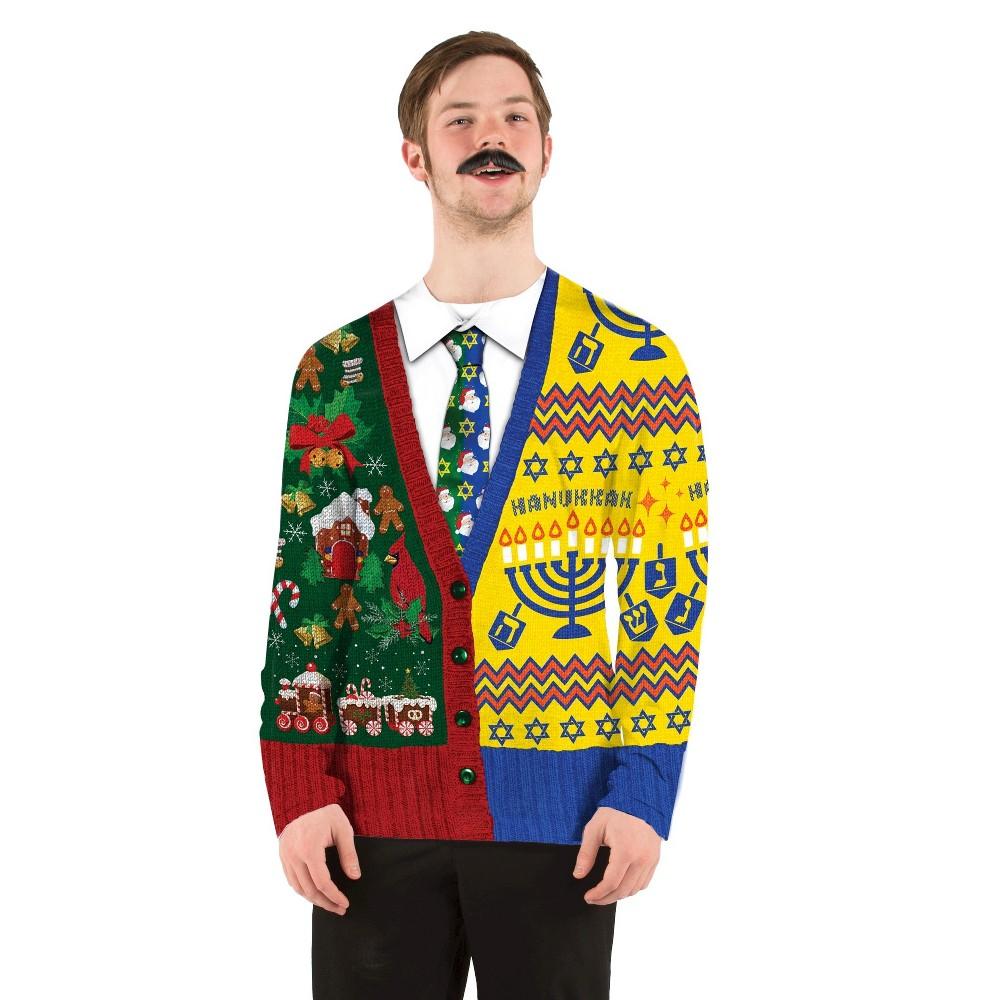 Men's Ugly Christmas/Hanukkah Sweater Costume, Long Sleeve T-Shirt - Medium, Multicolored