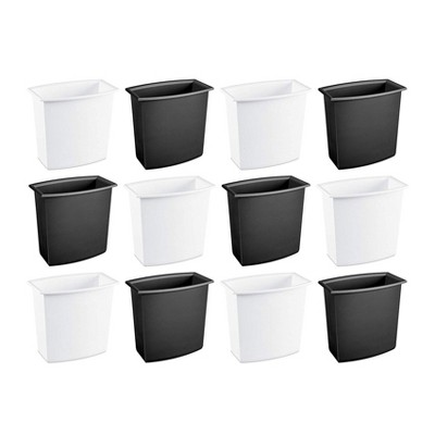 Sterilite 2-Gallon Rectangular Vanity Wastebasket, Black/White  (12 Pack)