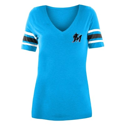 MLB Miami Marlins Women's Pitch Count V-Neck T-Shirt