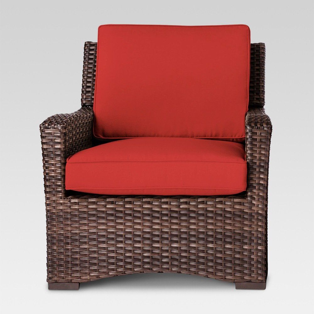 Halsted All Weather Wicker Outdoor Patio Club Chair Red - Threshold