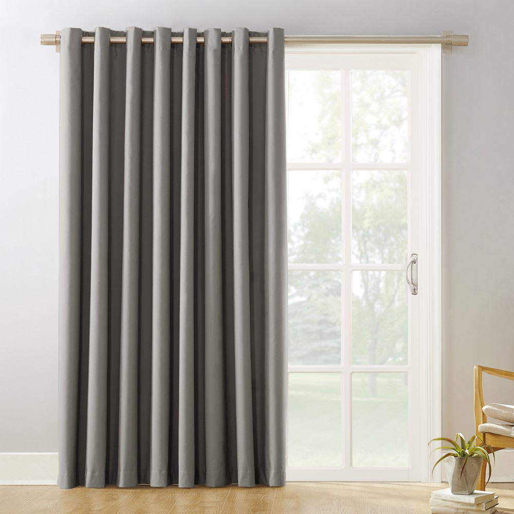 "Image of ""100""""x84"""" Kenneth Extra Wide Blackout Sliding Patio Door Curtain Panel Gray - Sun Zero"""