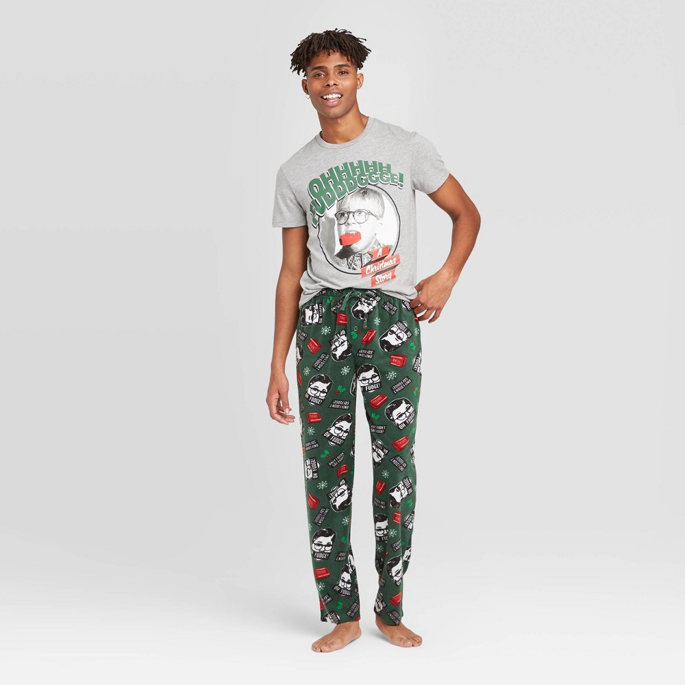 Image of Men's A Christmas Story Pajama Set - Gray L, Men's, Size: Large