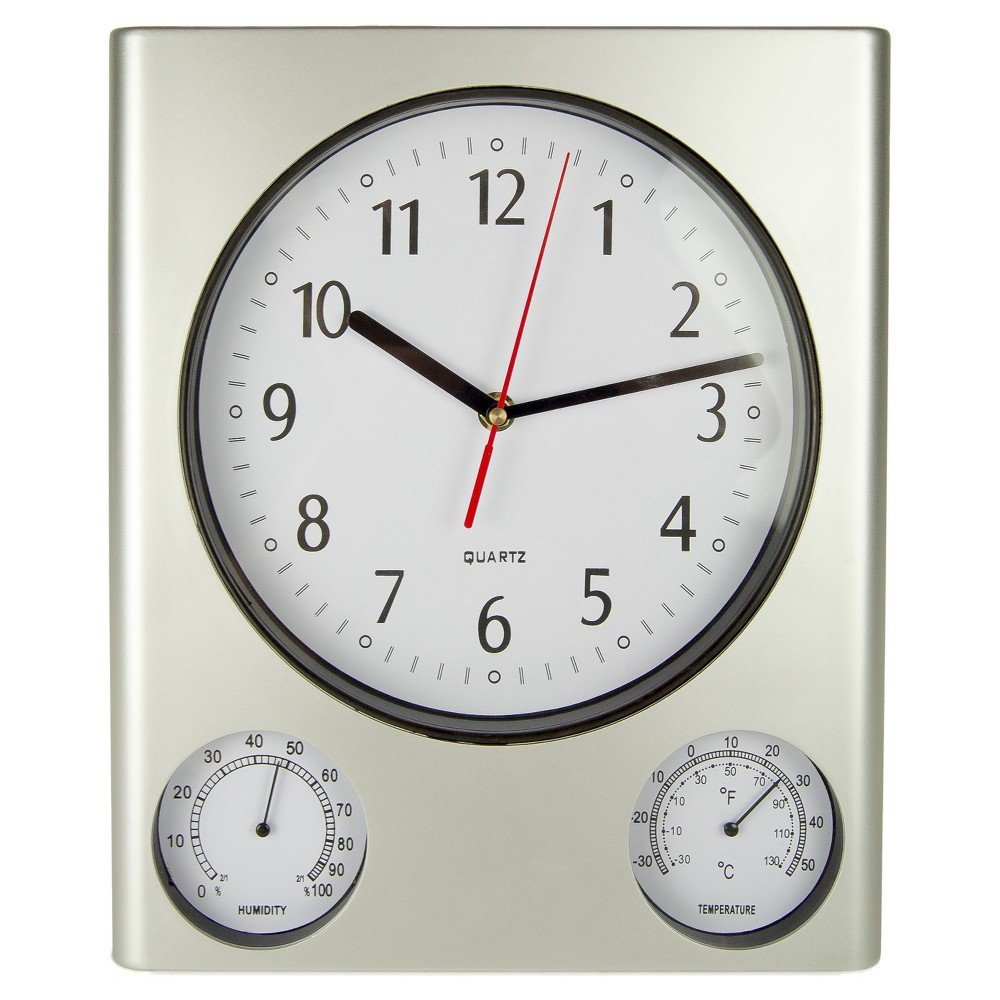 Poolmaster 12.5 Clock, Thermometer & Hygrometer, Silver For outdoor or indoor use, this 3-in-1 weather-resistant clock features second-hand quartz movement and large easy-to-read numbers. Thermometer and Hygrometer indicators are featured. Requires 1 AA battery - not included. Color: Silver.
