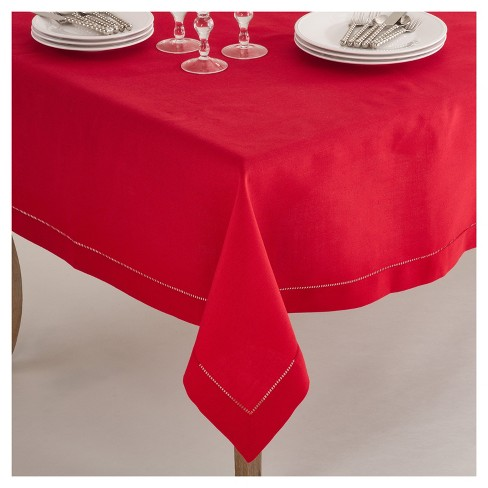 """Red Classic Hemstitch Border Design Tablecloth (90"""") - Saro Lifestyle - image 1 of 1"""
