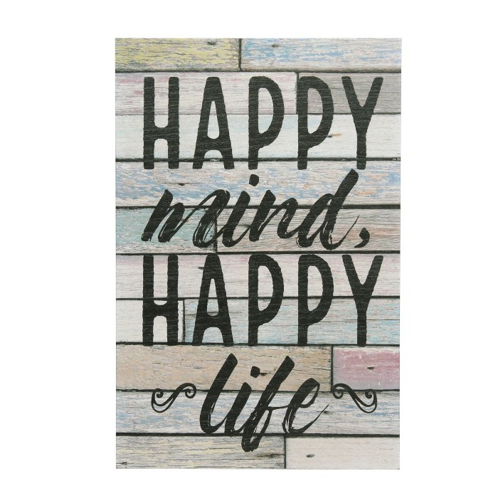 Happy Mind Wall Art White 10 x 15 - Stonebriar Collection - image 1 of 5