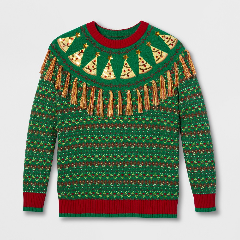 Image of 33 Degrees Men's Ugly Christmas Pizza Fringe Yoke Fairisle Long Sleeve Pullover Sweater - Green M, Men's, Size: Medium