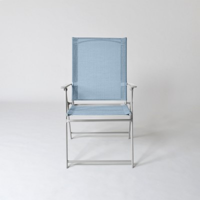 Swell Sling Folding Patio Chair Blue Threshold Brickseek Download Free Architecture Designs Meptaeticmadebymaigaardcom