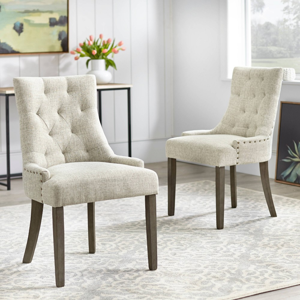 Image of Ariane Dining Chair Set of 2 Gray - Angelo:Home