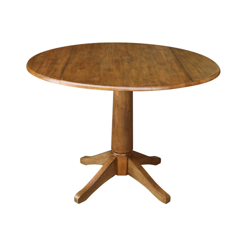 "Image of ""30.3"""" Iris Round Dual Drop Leaf Pedestal Table Brown - International Concepts"""