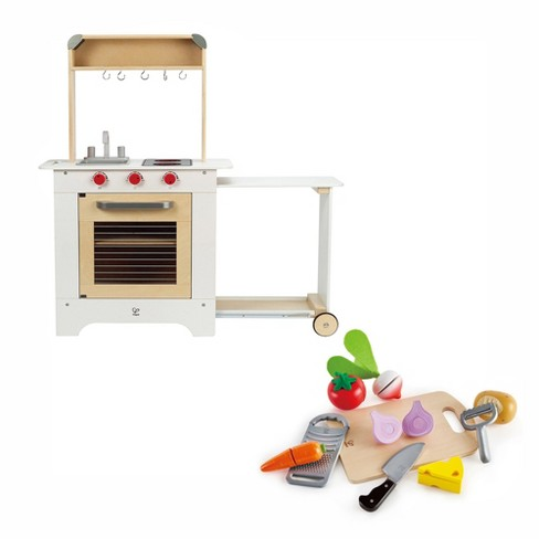Hape Cook N Serve Kids Contemporary Pretend Play Wooden Cooking Kitchen And Counter Bundle With Pretend Play Food And Accessories Set Ages 3 And Up Target