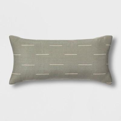 Silk Blend Dash Oversize Lumbar Throw Pillow Gray - Project 62™