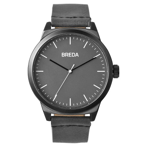BREDA Men's 'Rand' 8184F Gun Metal and Gray Leather Strap Watch, 43MM - image 1 of 4