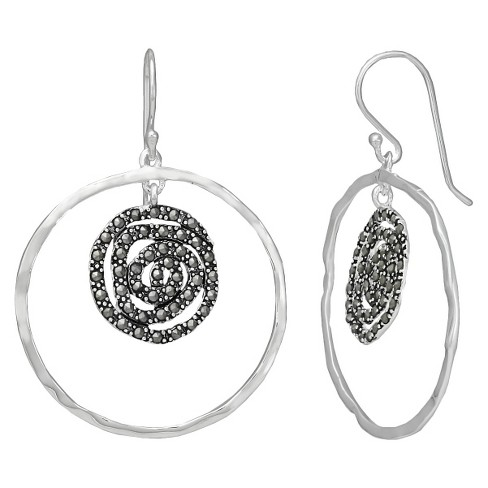 Marcasite Circle Earrings - Silver - image 1 of 1