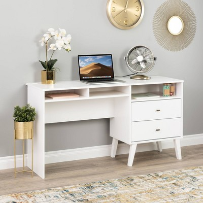 Milo Computer Desk with Side Storage and 2 Drawers - Prepac