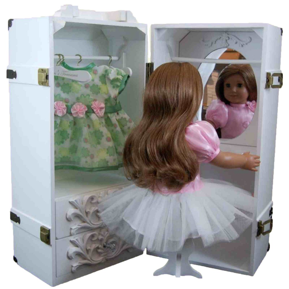 The Queen's Treasures 18 Inch Doll Furniture, White Clothing Storage Trunk, Vanity, 4 Hangers Fits 2 Dolls
