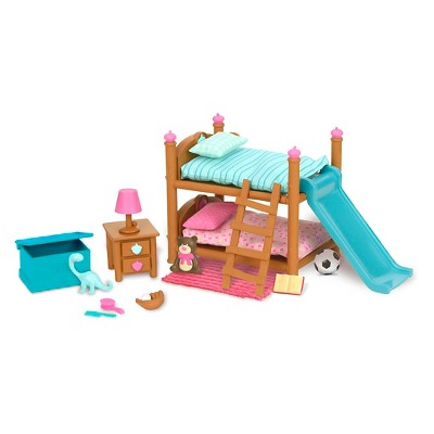 Li'l Woodzeez Miniature Furniture Playset 18pc - Bunk Bed Bedroom Set