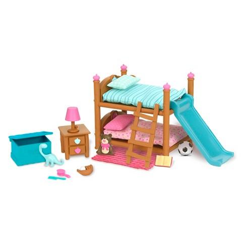 Li L Woodzeez Miniature Furniture Playset 18pc Bunk Bed Bedroom