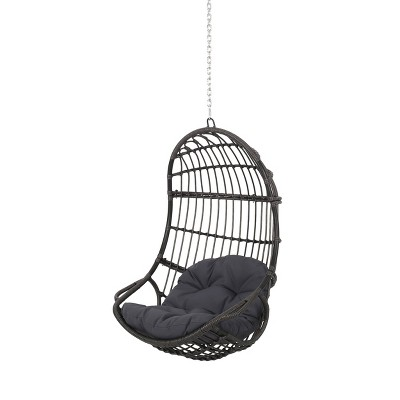Richards Outdoor/Indoor Wicker Hanging Chair with 8 Foot Chain (No Stand) - Gray/Dark Gray - Christopher Knight Home
