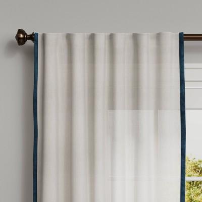 marlow velvet trim light filtering curtain panel threshold